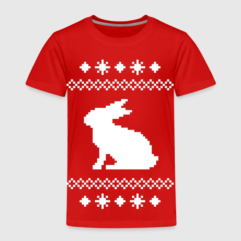 norwegian bunny christmas rabbit hare knitting pattern winter snowflake snow crystal frost snow flower cony leveret - Toddler Premium T-Shirt