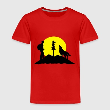 Hiking Man Hiking man, wolf and mountains - Toddler Premium T-Shirt