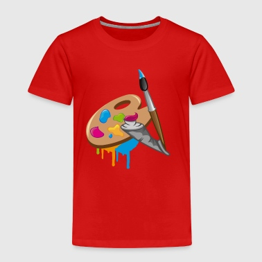 a Paint brush, colors and a painter's palette - Toddler Premium T-Shirt