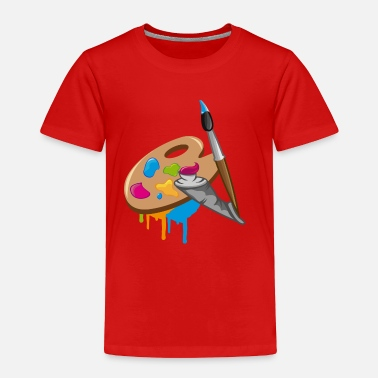 Color a Paint brush, colors and a painter's palette - Toddler Premium T-Shirt