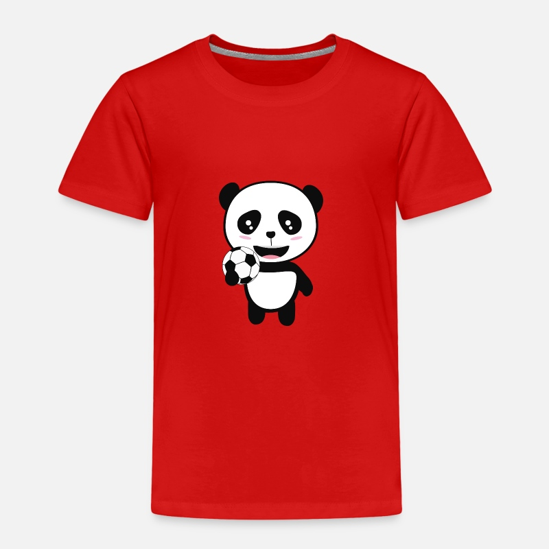 Panda Baby Clothing - Soccer Panda with ball Skbjf - Toddler Premium T-Shirt red
