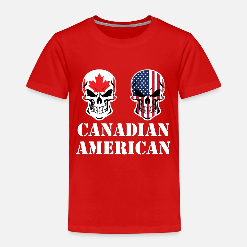 d7a58ca8288 Canadian Baby Clothing - Canadian American Flag Skulls - Toddler Premium T- Shirt red