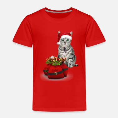 Silver Cat Christmas Cat and Mouse Silver Tabby - Toddler Premium T-Shirt