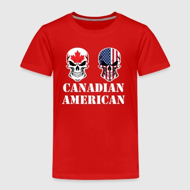 Canadian American Flag Skulls - Toddler Premium T-Shirt