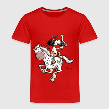 Indian with wild horse - Toddler Premium T-Shirt