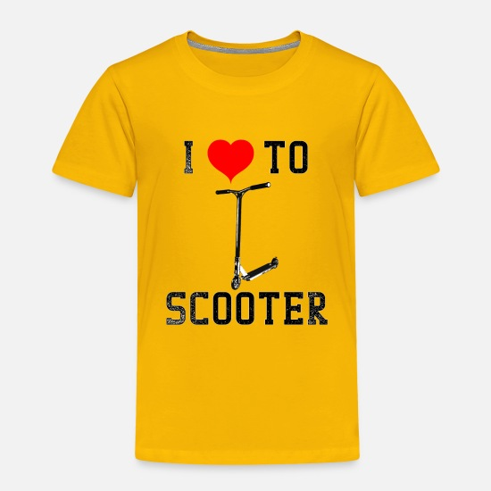 Scooter Baby Clothing - Giraffe Scooters I Love To Scooter - Toddler Premium T-Shirt sun yellow