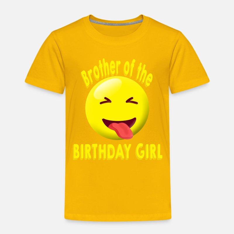 Brother Of The Birthday Girl Emoji Shirt Toddler Premium T