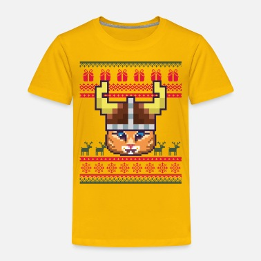 Ornament Viking Pixelated Cat Ugly Xmas Sweater - Toddler Premium T-Shirt