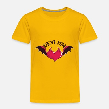 Devil Male Heart with devil horns and wings devilish quote - Toddler Premium T-Shirt