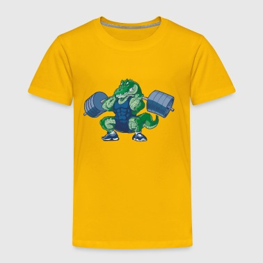 Weight-lifting-Alligator-Cartoon - Toddler Premium T-Shirt