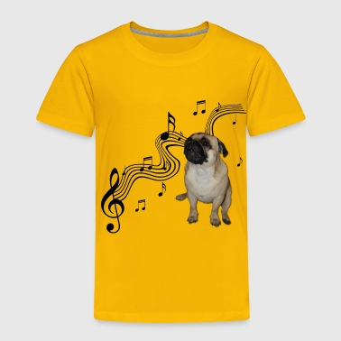 Music Pug with sheet music Cute - Toddler Premium T-Shirt