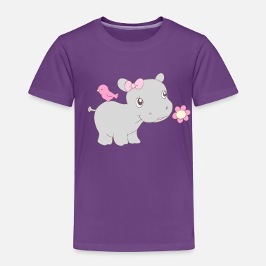 Hippie Girls Happy Hippy Hippo Girl - Toddler Premium T-Shirt