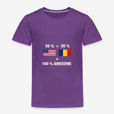 Romania Half Romanian Half American 100% Awesome Flag Roma - Toddler Premium T-Shirt