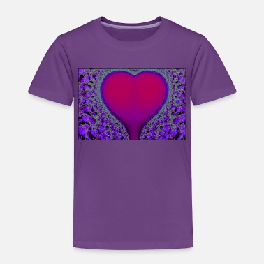 Psychedelic Vibrant Pink and Purple Heart on Purple Background - Toddler Premium T-Shirt