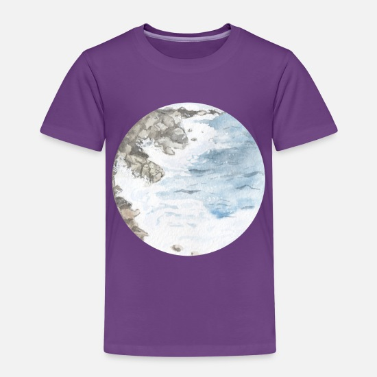 Waves Baby Clothing - Watercolor Shore Waves - Toddler Premium T-Shirt purple
