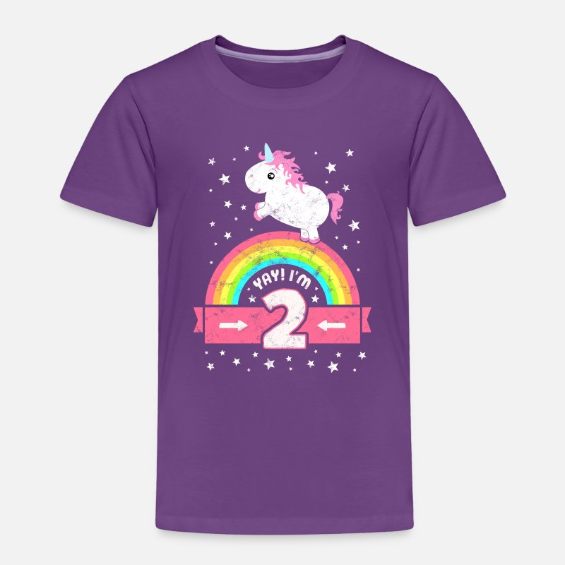 Cute 2nd Birthday Unicorn Kid Girl Age 2 Years Old Toddler Premium T