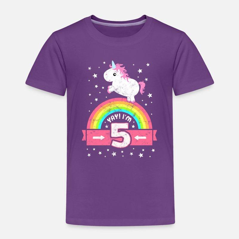 Cute 5th Birthday Unicorn Kid Girl Age 5 Years Old By EasyTeezy