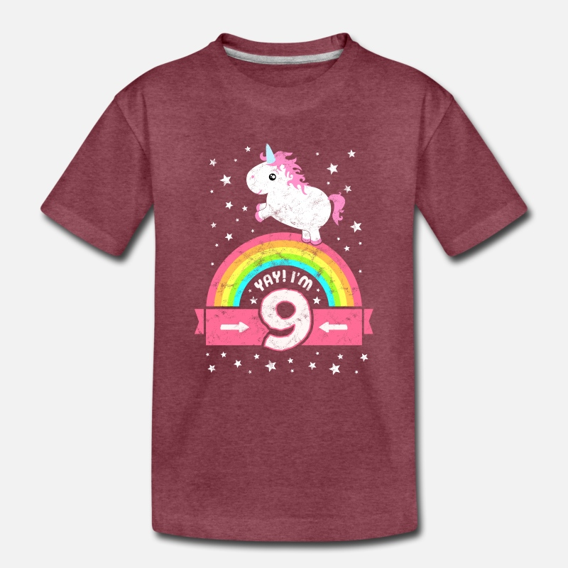9th Birthday T-shirt Unicorn Kids T Shirts