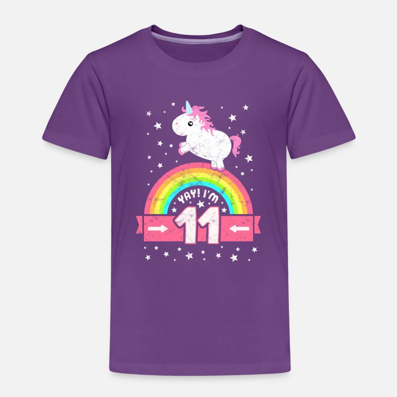 Cute 11th Birthday Unicorn Kid Girl 11 Years Old Toddler Premium T