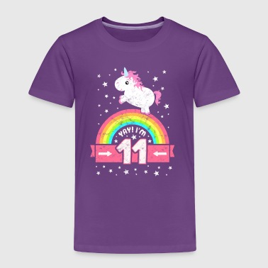 Cute 11th Birthday Unicorn Kid Girl 11 Years Old - Toddler Premium T-Shirt