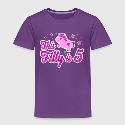 Cute 5th Birthday Girl Horse Pink Filly 5 Years - Toddler Premium T-Shirt