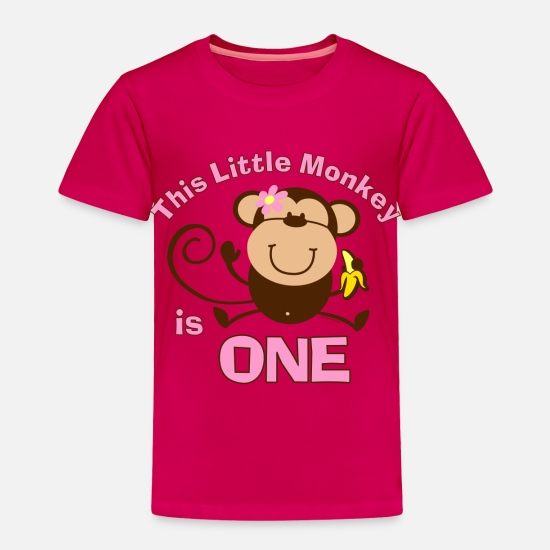 Birthday Baby Clothing - 1st Birthday Monkey Girl - Toddler Premium T-Shirt dark pink
