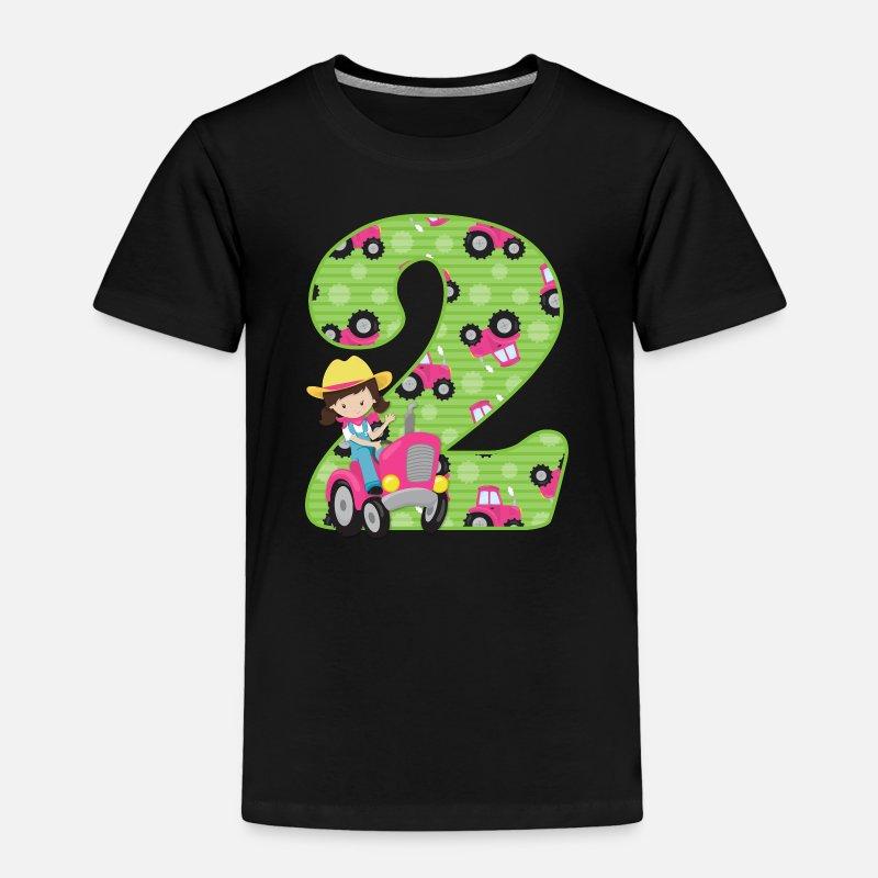 Toddler Premium T ShirtTractor Girl 2nd Birthday