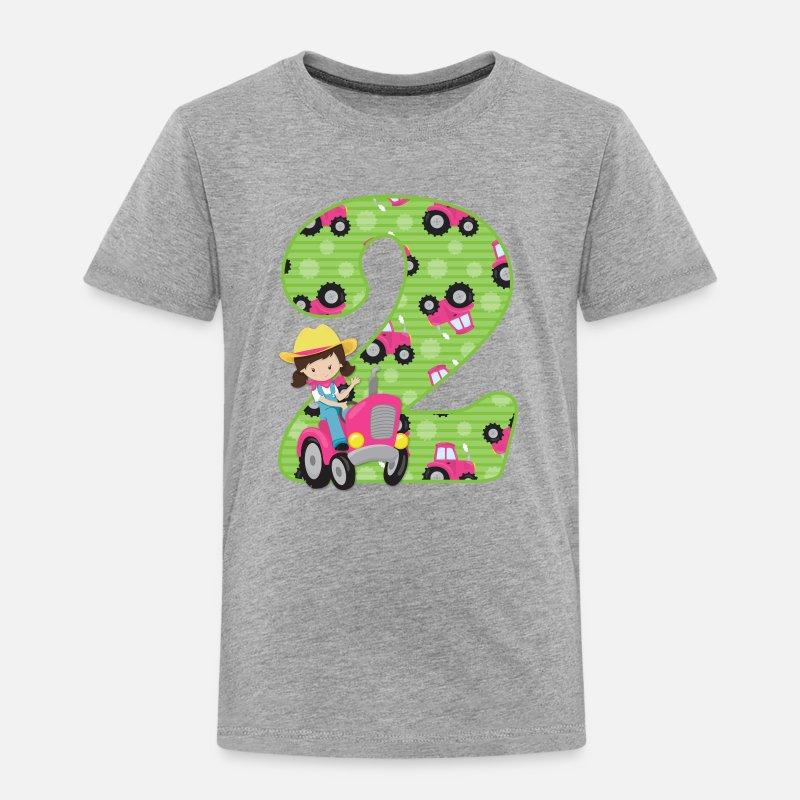 Tractor Girl 2nd Birthday Toddler Premium T Shirt