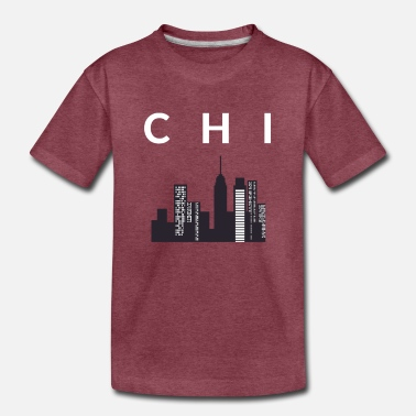 Town CHI Town Skyline Chicago City White Print T-Shirt - Toddler Premium T-Shirt