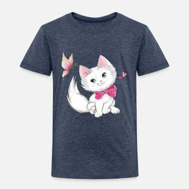 Cute Cute White Kitten with Butterfly on pastel - Toddler Premium T-Shirt