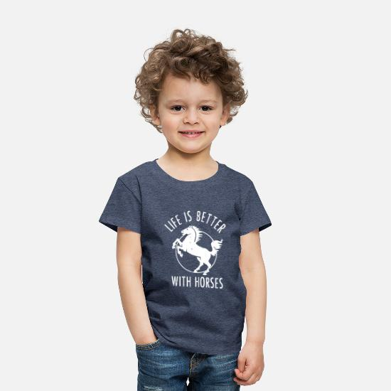 Horse Baby Clothing - Life is better with Horses - Gift - Toddler Premium T-Shirt heather blue