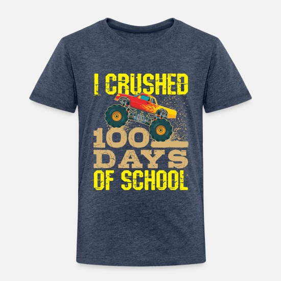12c84b28e School Baby Clothing - 100 Days Of School Monster Truck - Toddler Premium T- Shirt