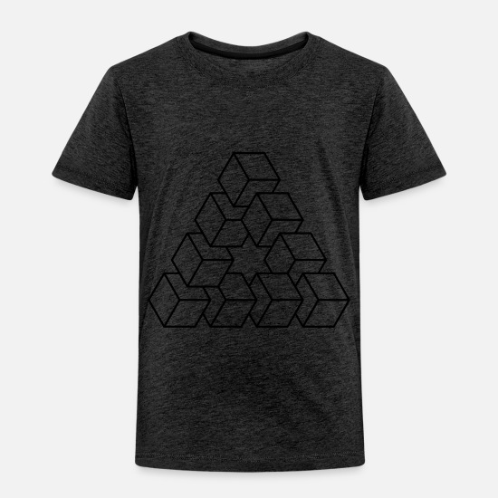 Shape Baby Clothing - Abstract Illusion Squares - Toddler Premium T-Shirt charcoal gray