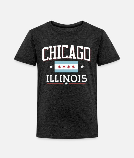Grunge Chicago Flag Infant Kids Crewneck Short Sleeve Shirt Tee Jersey for Toddlers