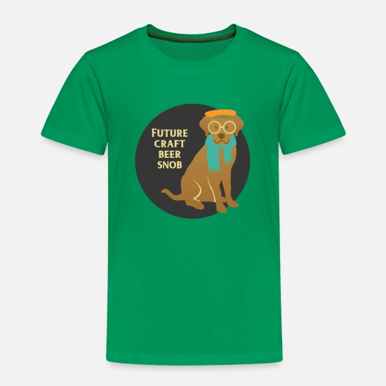 Animal Baby Clothing - Future craft beer snob - Hipster Dog - Toddler Premium T-Shirt kelly green