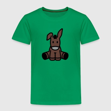 Cute Cartoon Donkey Sitting - Toddler Premium T-Shirt