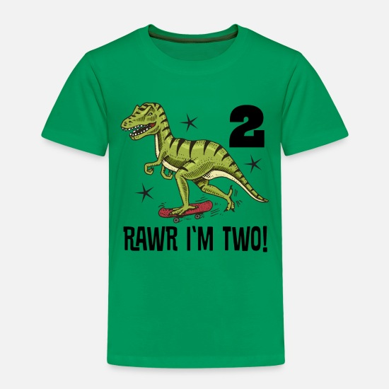 Dinosaurs Baby Clothing - 2nd Birthday Skateboarding Dinosaur - Toddler Premium T-Shirt kelly green