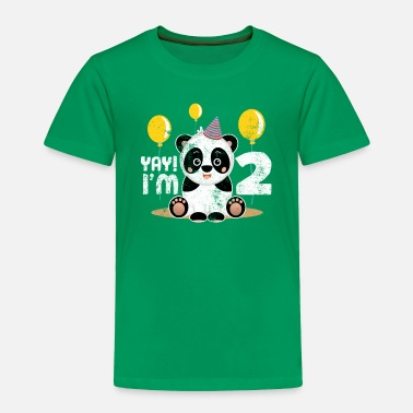 Old Cute 2nd Birthday Panda Kid Boy Girl 2 Years Old - Toddler Premium T-Shirt