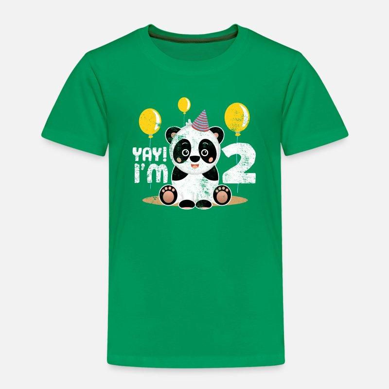 Cute 2nd Birthday Panda Kid Boy Girl 2 Years Old Toddler Premium T