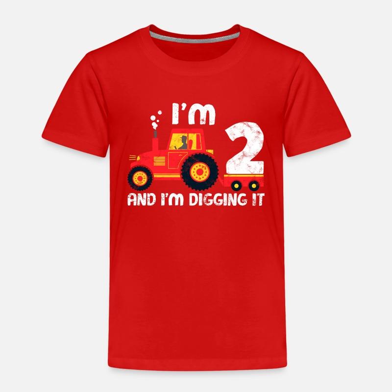Cute 2nd Birthday Boy Farm Tractor Kid Age 2 Years Toddler Premium T Shirt