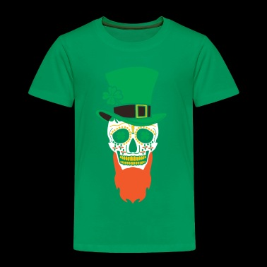 St Patricks Day Sugar Skull Mustache With Hat - Toddler Premium T-Shirt