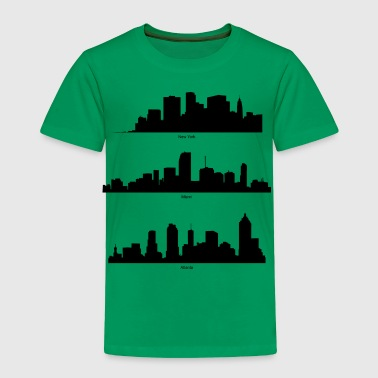 New York, Miami and Atlanta Skyline - Toddler Premium T-Shirt