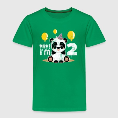 Cute 2nd Birthday Panda Kid Boy Girl 2 Years Old - Toddler Premium T-Shirt