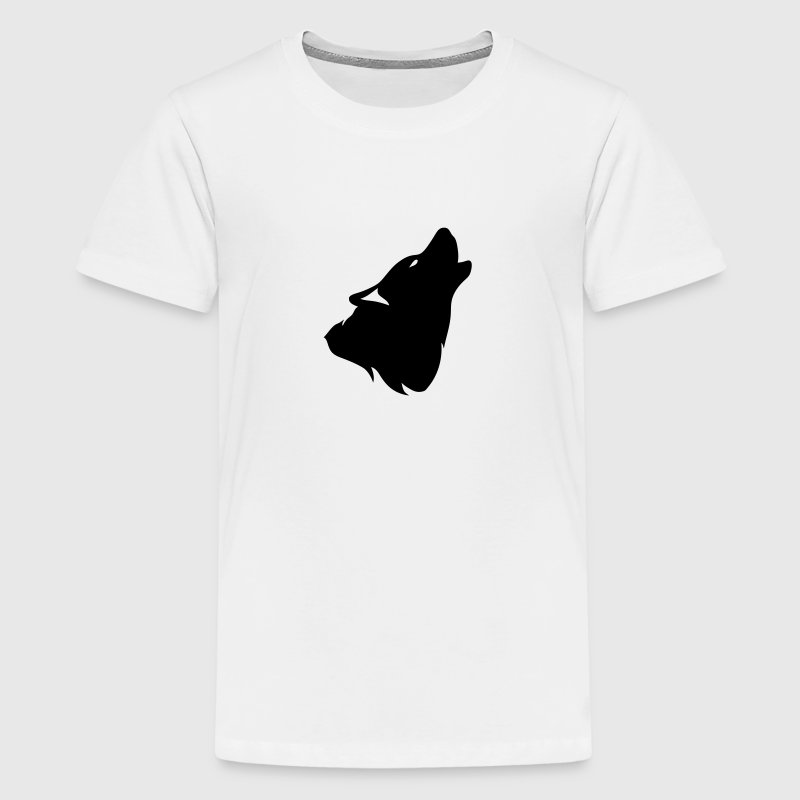 outline howling wolf shadow 0 - Kids' Premium T-Shirt
