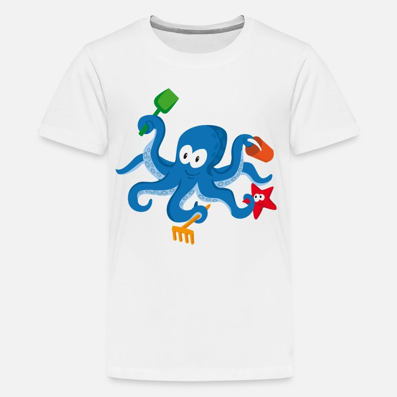Octopus T-Shirts - octopus cartoon - Kids' Premium T-Shirt white