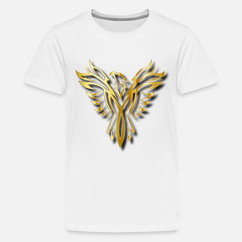 Golden T-Shirts - Rising Golden Phoenix - Kids' Premium T-Shirt white