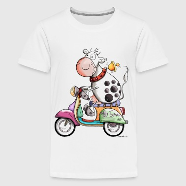Cow drives scooter - Scooters - Gift - Cartoon - Kids' Premium T-Shirt
