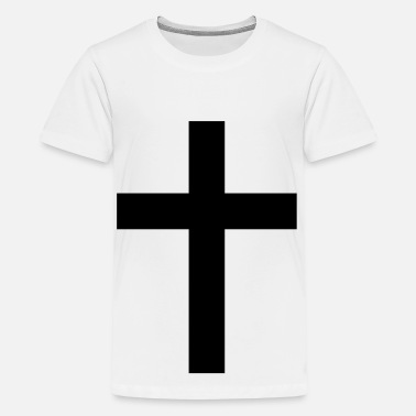 Black Catholic cross christianity simple catholic black and white - Kids' Premium T-Shirt