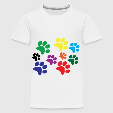 Colorful dog paws - Kids' Premium T-Shirt