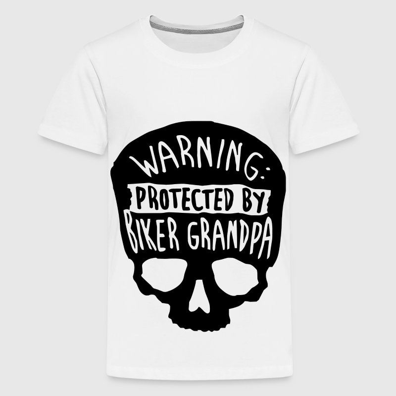Warning Protected By A Biker Grandpa   - Kids' Premium T-Shirt